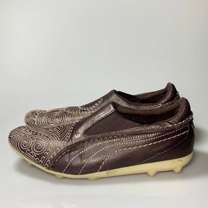 Puma Embroidered Slip On Sneakers Shoes Sz 6 Brown